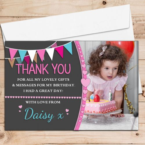 10 Personalised Girls Birthday Thank you PHOTO Cards N245 - Hearts & Bunting Style